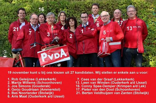 De PvdA-delegatie die zaterdag Gouderak bezocht. (Klik hier voor de grote versie)