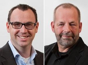 Fractievoorzitters Rob Geleijnse (PvdA, links) en Willem Schoof (VGBK)